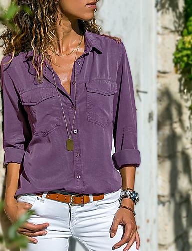 billige Dametopper-Bomull Skjortekrage Skjorte Dame - Ensfarget, Lapper Gatemote Grå