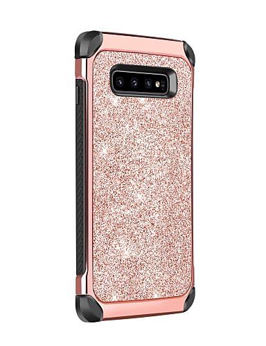 Case สำหรับ Samsung Galaxy Galaxy S10 Shockproof / Plating / Glitter Shine ปกหลัง สีพื้น / Glitter Shine Hard หนัง PU / TPU / พีซี