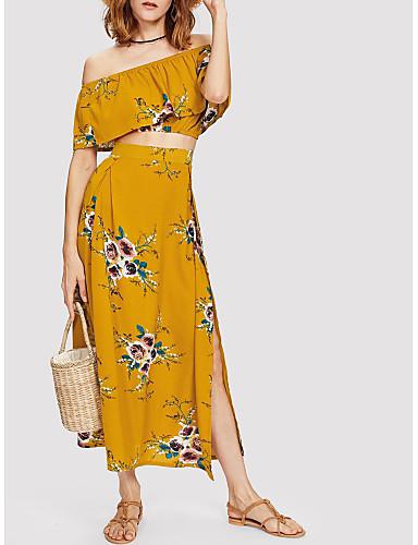 สำหรับผู้หญิง โบโฮ สั้น ชุด - ลายดอกไม้ กระโปรง ระบาย ไหล่ตก