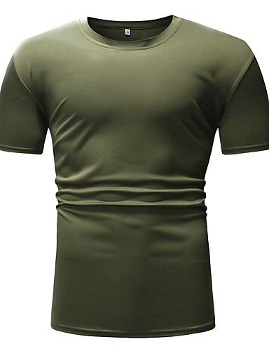 สำหรับผู้ชาย ขนาดของยุโรป / อเมริกา เสื้อเชิร์ต คอกลม สีพื้น สีดำ