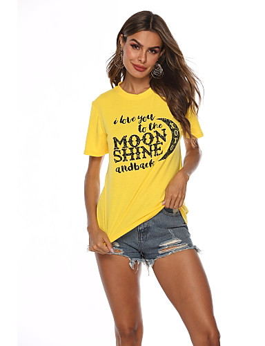 สำหรับผู้หญิง เสื้อเชิร์ต ฝ้าย ลายพิมพ์ ลายตัวอักษร สีเหลือง