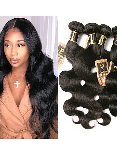 cheap Human Hair Weaves-6 Bundles Brazilian Hair Body Wave 100% Remy Hair Weave Bundles 300 g Natural Color Hair Weaves / Hair Bulk Bundle Hair One Pack Solution 8-28 inch Natural Color Human Hair Weaves Odor Free Thick For