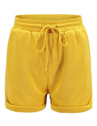 สำหรับผู้หญิง พื้นฐาน หลวม กางเกงขาสั้น กางเกง - สีพื้น ลายต่อ สีแดงชมพู สีเทา สีเหลือง M L XL