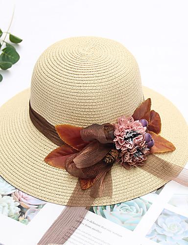 สำหรับผู้หญิง สีพื้น เส้นใยสังเคราะห์ Straw ซึ่งทำงานอยู่ พื้นฐาน สไตล์น่ารัก-หมวกสาน ดวงอาทิตย์หมวก ทุกฤดู ผ้าขนสัตว์สีธรรมชาติ สีน้ำเงินกรมท่า สีกากี