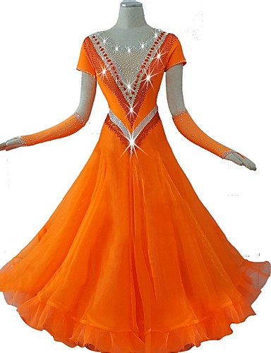 cheap Ballroom Dancewear-Ballroom Dance Dress Crystals / Rhinestones Women's Training Short Sleeve High Nylon Organza Tulle