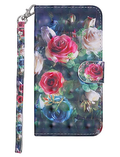 Case สำหรับ Samsung Galaxy Galaxy S10 Wallet / Card Holder / with Stand ตัวกระเป๋าเต็ม ดอกไม้ Hard หนัง PU