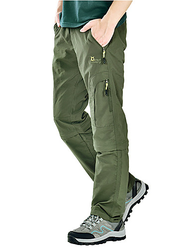 cheap Hiking Trousers & Shorts-Men's Hiking Pants Convertible Pants / Zip Off Pants Summer Outdoor Lightweight UV Resistant Breathable Quick Dry Pants / Trousers Bottoms Running Camping / Hiking Hunting Dark Grey Black Army Green