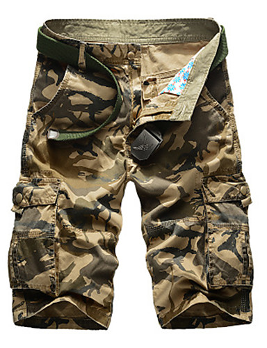 """cheap Hiking Trousers & Shorts-Men's Hiking Shorts Hiking Cargo Shorts Camo Summer Outdoor 10"""" Relaxed Fit Breathable Comfortable Multi-Pocket Wear Resistance Cotton Shorts Bottoms Army Green Khaki Camping / Hiking Hunting Fishing"""
