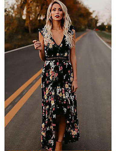 2bf562307c8 Maxi Dress A-Line Plunging Neck Floor Length Chiffon Dress with ...