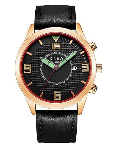 สำหรับผู้ชาย นาฬิกาตกแต่งข้อมือ นาฬิกาอิเล็กทรอนิกส์ (Quartz) PU Leather ดำ / ออเรนจ์ / น้ำตาล ปฏิทิน ระบบอนาล็อก ไม่เป็นทางการ แฟชั่น - ส้ม กาแฟ สีกากี