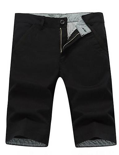 สำหรับผู้ชาย พื้นฐาน เพรียวบาง กางเกงขาสั้น กางเกง - สีพื้น สีดำ ไวน์ อาร์มี่ กรีน 28 29 30