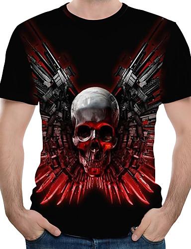 สำหรับผู้ชาย ขนาดของยุโรป / อเมริกา เสื้อเชิร์ต ลายพิมพ์ คอกลม ลายบล็อคสี / 3D / กระโหลก สีดำ