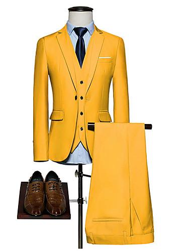 levne Pánské blejzry a saka-Pánské Obleky, Jednobarevné Klasické klopy Polyester Žlutá / Fialová / Světle modrá / Štíhlý