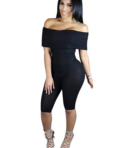 สำหรับผู้หญิง พื้นฐาน ไหล่ตก สีดำ สีเทา เพรียวบาง Romper, สีพื้น S M L ฝ้าย