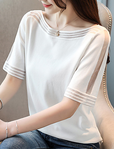 สำหรับผู้หญิง เสื้อเชิร์ต ตารางไขว้ ไหล่ตก หลวม สีพื้น ขาว ขนาดเดียว