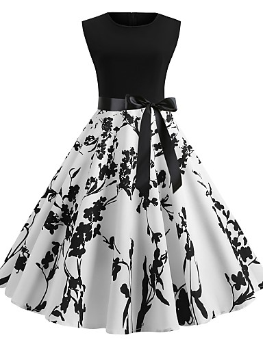 cheap Little Black Dresses-Women's A-Line Dress Sleeveless Floral Print Summer Spring & Summer 1950s Vintage Going out 2020 White Blushing Pink S M L XL XXL