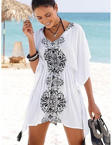 สำหรับผู้หญิง ขาว รวมด้วย ชุดว่ายน้ำ - ลายดอกไม้ ขนาดเดียว ขาว