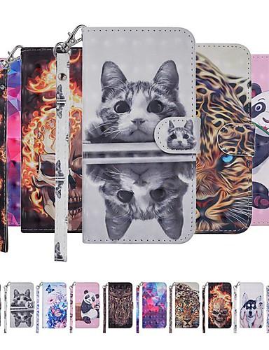 Case สำหรับ Samsung Galaxy Galaxy A10 (2019) Wallet / Card Holder / with Stand ตัวกระเป๋าเต็ม Cat / Dog / Butterfly Hard หนัง PU