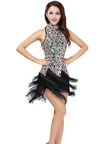 preiswerte Tanzkleider & Tanzschuhe-Latein-Tanz Kleider Damen Training / Leistung Gitter / Terylen Quaste / Pailetten Ärmellos Kleid