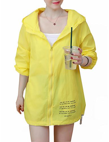 สำหรับผู้หญิง ทุกวัน ฤดูร้อนฤดูใบไม้ผลิ ยาว แจ็คเก็ตชุดกิโมโน, ลายตัวอักษร ฮู้ด แขนยาว เส้นใยสังเคราะห์ ขาว / สีเหลือง / สีน้ำเงิน / หลวม