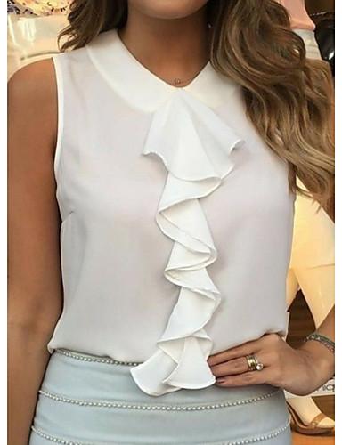 billige Dametopper-Hengende krage Store størrelser Bluse Dame - Ensfarget Svart