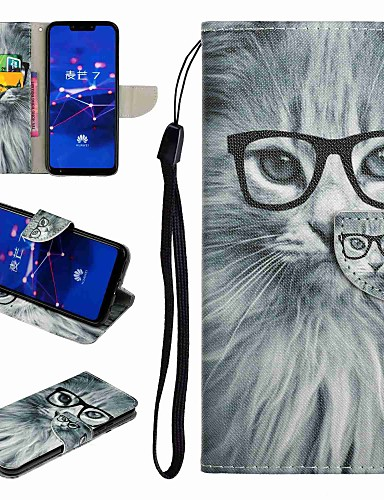 Case สำหรับ Huawei Honor 9 / Honor 8 / Huawei Honor 7 Card Holder / with Stand / Flip ตัวกระเป๋าเต็ม Cat / การ์ตูน Hard หนัง PU