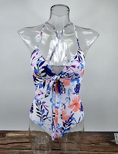 สำหรับผู้หญิง สีน้ำเงิน ชิ้นหนึ่ง ชุดว่ายน้ำ - ลายดอกไม้ M L XL สีน้ำเงิน