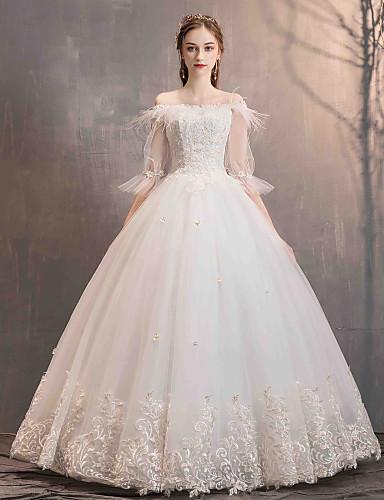 2a2ef2268 Salón Hombros Caídos Hasta el Suelo Encaje   Tul Vestidos de novia ...