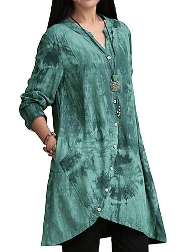 billige Dametopper-Bomull V-hals Store størrelser Skjorte Dame - Geometrisk Rosa