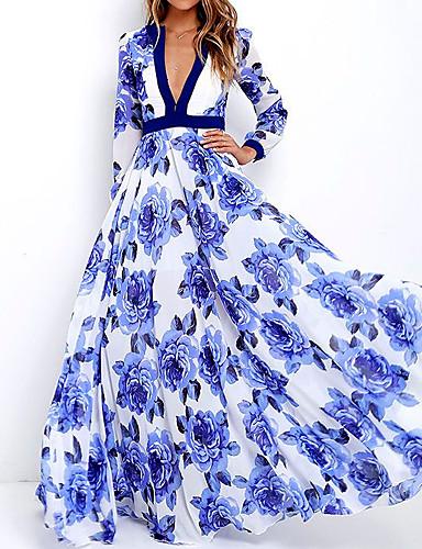 preiswerte Strandkleider-Damen Elegant Swing Kleid - Blume Blumig, Blumen Maxi Tiefes V