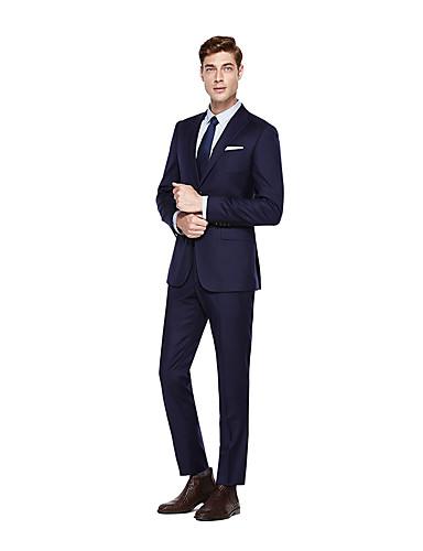 preiswerte Kleider & Accessoires für die Semesterferien-Marineblau Solide Weite Passform Wolle Anzug - Steigendes Revers Einreiher - 2 Knöpfe