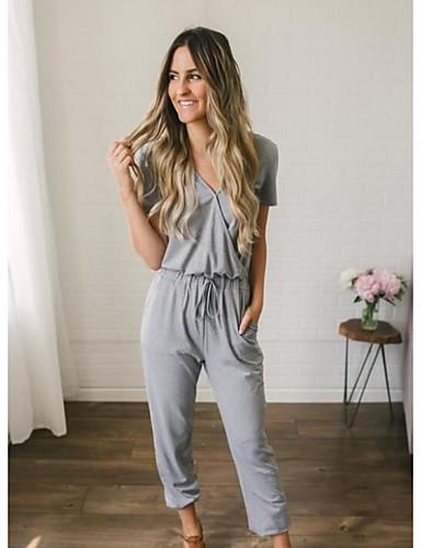 สำหรับผู้หญิง พื้นฐาน กางเกงวอร์ม กางเกง - สีพื้น ลายต่อ ฝ้าย สีดำ สีเทา M L XL