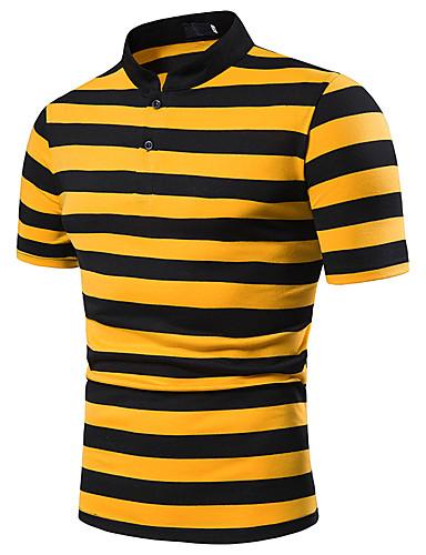 สำหรับผู้ชาย ขนาดของยุโรป / อเมริกา Polo ลายต่อ คอเสื้อเชิ้ต ลายบล็อคสี ทับทิม