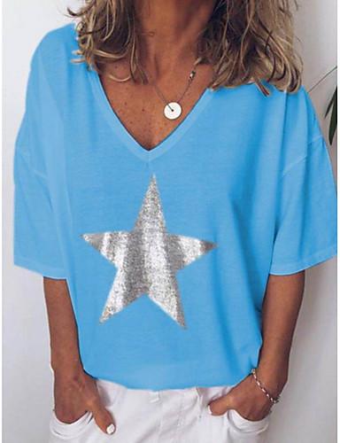 billige T-skjorter til damer-V-hals Store størrelser T-skjorte Dame - Geometrisk, Trykt mønster Svart / Vår / Sommer / Høst / Vinter