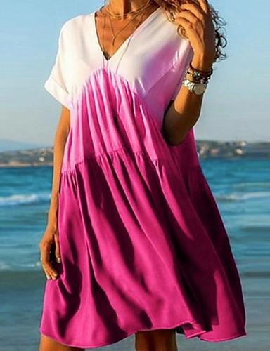 Жен. Классический А-силуэт Платье - Контрастных цветов, С принтом V-образный вырез До колена