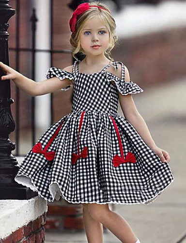 db167cee210bd Baby Girls' Active / Street chic Check / Patchwork Bow / Ruffle Sleeveless  Dress Black / Toddler 7232852 2019 – $18.94