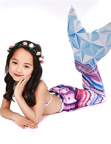 คอสเพลย์และคอสตูม ชุดว่ายน้ำ บีกีนี่ The Little Mermaid หางนางเงือก Aqua Princess สำหรับเด็ก Lycra® คอสเพลย์และคอสตูม Mermaid and Trumpet Gown Slip คอสเพลย์ สีม่วง เงือก / Top