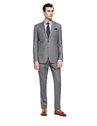 preiswerte Kleider & Accessoires für die Semesterferien-Grau Kariert Weite Passform Wolle Anzug - Fallendes Revers Einreiher - 2 Knöpfe