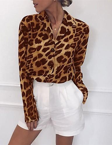 billige Dametopper-Skjortekrage Skjorte Dame - Leopard Hvit