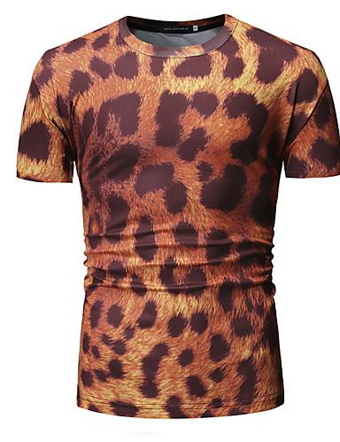 สำหรับผู้ชาย เสื้อเชิร์ต คอกลม ลายเสือ ส้ม