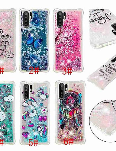 Case สำหรับ Huawei Huawei P20 / Huawei P20 Pro / Huawei P20 lite Shockproof / Flowing Liquid / Transparent ปกหลัง Butterfly / สัตว์ / Glitter Shine Soft TPU