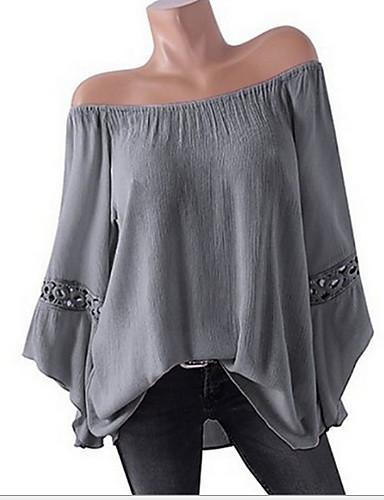 billige Dametopper-Løstsittende Store størrelser Skjorte Dame - Ensfarget Rosa