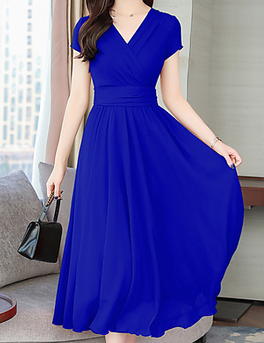 levne Maxi šaty-Dámské Větší velikosti Bavlna Swing Šaty - Jednobarevné Maxi Do V