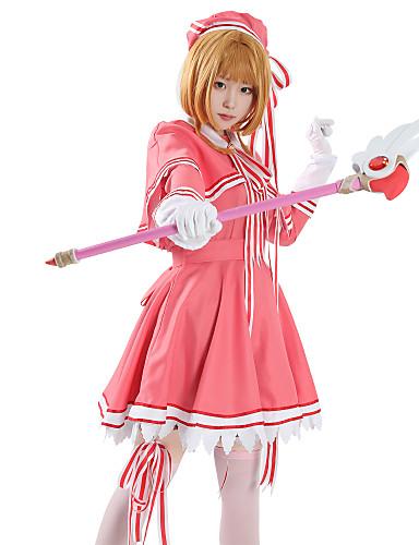 povoljno Anime cosplay-Inspirirana Cardcaptor Sakura Cookie Anime Anime Cosplay nošnje Japanski Cosplay Suits Anime Dugih rukava Haljina / Shawl / Rukavice Za Žene / Šešir