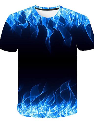 billige Herreklær-Herre T skjorte Grafisk Flamme Trykt mønster Topper Blå Lilla Oransje