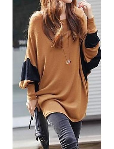 billige T-skjorter til damer-Løstsittende T-skjorte Dame - Fargeblokk, Lapper Brun