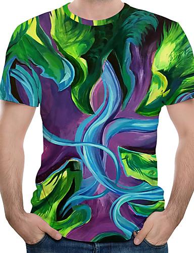 สำหรับผู้ชาย ขนาดของยุโรป / อเมริกา เสื้อเชิร์ต ลายพิมพ์ คอกลม ลายบล็อคสี / 3D / Tribal ใบไม้สีเขียวที่มีสามแฉก