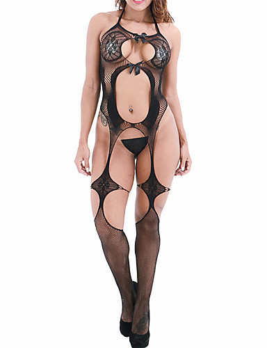 cheap Sexy Can't Wait!-Women's Bow / Mesh Bodysuits Nightwear Jacquard / Solid Colored Black White Purple One-Size