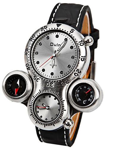 Oulm สำหรับผู้ชาย นาฬิกาทหาร นาฬิกาอิเล็กทรอนิกส์ (Quartz) หนัง ดำ / น้ำตาล เครื่องวัดอุณหภูมิ เข็มทิศ กันกระแทก ระบบอนาล็อก ความหรูหรา แฟชั่น - ขาว สีน้ำตาล หนึ่งปี อายุการใช้งานแบตเตอรี่