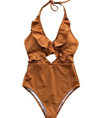 สำหรับผู้หญิง สีดำ สีแดงชมพู สีเหลือง ชิ้นหนึ่ง ชุดว่ายน้ำ - สีพื้น L XL XXL สีดำ
